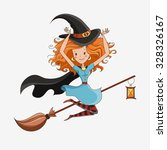 halloween card  halloween witch | Shutterstock . vector #328326167