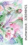watercolor romantic pink green... | Shutterstock . vector #328348421