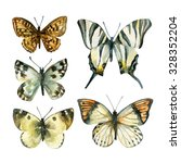 Watercolor Butterfly Set. Hand...