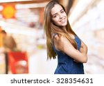young woman smiling over white... | Shutterstock . vector #328354631