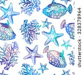 exotic fishes  corals and... | Shutterstock .eps vector #328378964