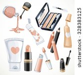 Set Of Cosmetics Objects In...