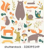 forest set with cute bear ... | Shutterstock .eps vector #328395149
