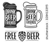 set of beer typography vintage... | Shutterstock .eps vector #328413395