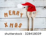 funny wooden christmas... | Shutterstock . vector #328418039