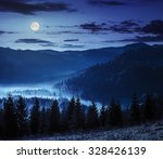 cold fog at night in full moon light over conifer forest in  mountains - stock photo