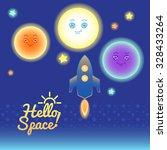 set of sun  moon  mars  planets ... | Shutterstock .eps vector #328433264