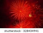 Red Fireworks On Black...