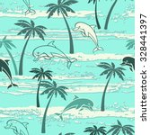 seamless pattern with dolphins... | Shutterstock .eps vector #328441397