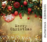 christmas retro card border... | Shutterstock . vector #328446101
