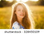 beautiful girl on the flowers... | Shutterstock . vector #328450109