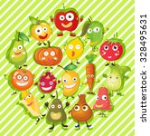 different kind of fruits and... | Shutterstock .eps vector #328495631