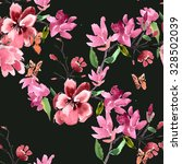 pattern magnolia flowers... | Shutterstock . vector #328502039