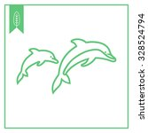 icon of two jumping dolphins | Shutterstock .eps vector #328524794