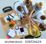 business team with hands... | Shutterstock . vector #328526624