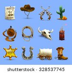 wild west realistic icons set...