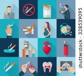 smoking addiction flat long... | Shutterstock .eps vector #328539095