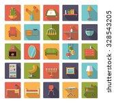 home interior flat design long... | Shutterstock .eps vector #328543205