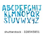watercolor aquarelle font type... | Shutterstock . vector #328545851