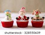 Three Christmas Cupcakes  Sant...