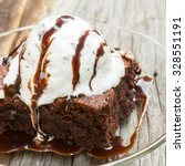 homemade brownies with ice...   Shutterstock . vector #328551191
