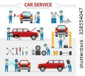 car repair service flat vector... | Shutterstock .eps vector #328554047