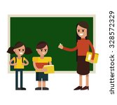 students and teacher in flat... | Shutterstock .eps vector #328572329