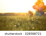 happy girl with balloons in the ... | Shutterstock . vector #328588721