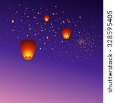 chinese sky lanterns floating... | Shutterstock . vector #328595405