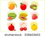 fresh fruits icons | Shutterstock .eps vector #328603601