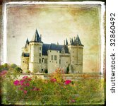 medieval castle - retro style picture with artistic border - stock photo