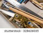overhead view of hand tools... | Shutterstock . vector #328626035