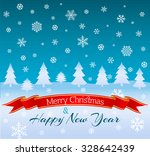winter background with firs and ... | Shutterstock .eps vector #328642439