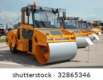 modern yellow road rollers over ... | Shutterstock . vector #32865346