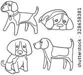 Vector Set Of Dog  Beagle