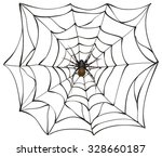 scary spider of web.... | Shutterstock .eps vector #328660187