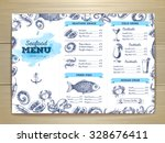 watercolor seafood menu design. ... | Shutterstock .eps vector #328676411