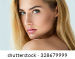 portrait of beautiful blonde... | Shutterstock . vector #328679999
