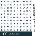 lifestyle 100 icons universal... | Shutterstock . vector #328681079