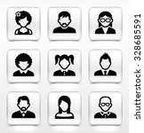 people face set on white square ... | Shutterstock .eps vector #328685591
