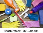 house cleaning product on wood... | Shutterstock . vector #328686581