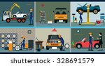 car repair service center with... | Shutterstock .eps vector #328691579