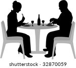 couple sitting and dining... | Shutterstock .eps vector #32870059