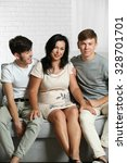 happy family portrait on sofa... | Shutterstock . vector #328701701