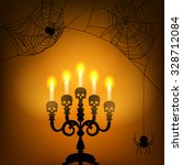 Halloween Card With Candle...