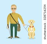 blind man with guide dog.... | Shutterstock .eps vector #328716254