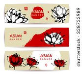 oriental banner set. horizontal ... | Shutterstock .eps vector #328722989