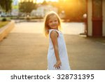 outdoor portrait of cute little ... | Shutterstock . vector #328731395