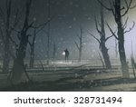 Man Holding Lantern Stands In...