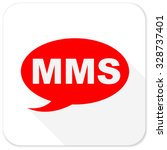mms red flat icon with long... | Shutterstock . vector #328737401